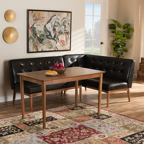 Baxton Studio Arvid Mid-Century Modern  Brown Faux Leather Upholstered 3-Piece Wood Dining Nook Set
