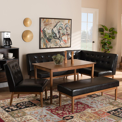 Baxton Studio Arvid Mid-Century Modern  Brown Faux Upholstered Leather 5-Piece Wood Dining Nook Set