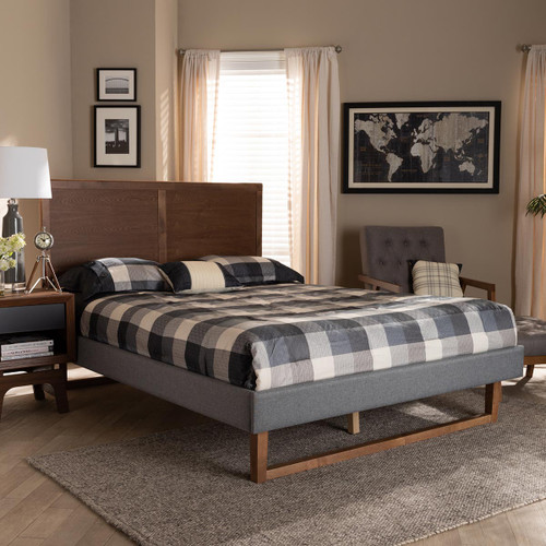 Baxton Studio Allegra Mid-Century Modern  Grey Fabric Upholstered and Ash Walnut Brown Finished Wood Queen Size Platform Bed