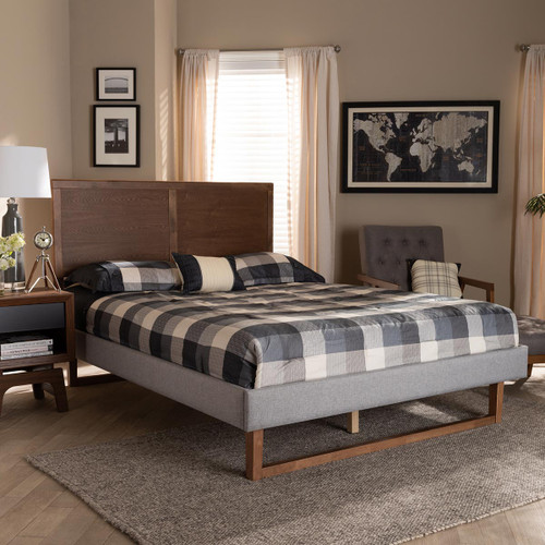 Baxton Studio Eloise Rustic Modern Light Grey Fabric Upholstered and Ash Walnut Brown Finished Wood Queen Size Platform Bed