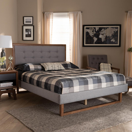 Baxton Studio Livinia Modern Transitional Light Grey Fabric Upholstered and Ash Walnut Brown Finished Wood Queen Size Platform Bed