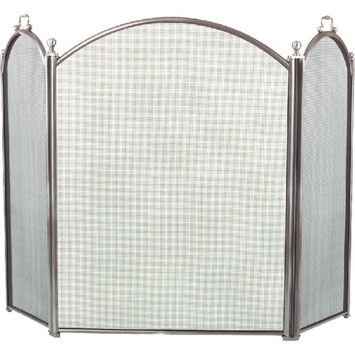 3 Fold Arched Fireplace Screen - Pewter - 7383-34