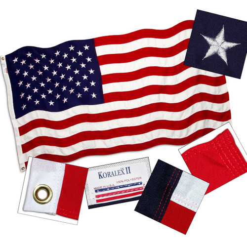 American Flag 5ft x 9.5ft Valley Forge Koralex II 2-Ply Sewn Polyester