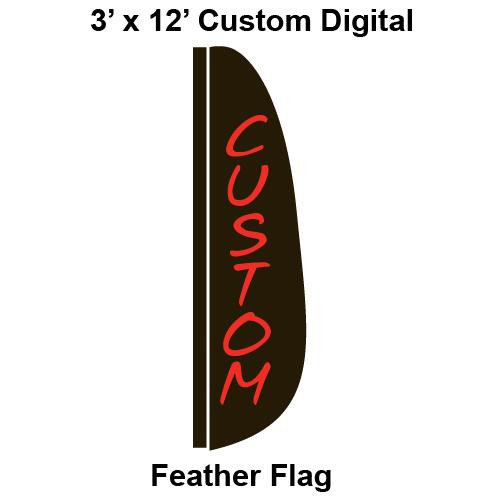 Custom Digital 3' x 12' Feather Flag