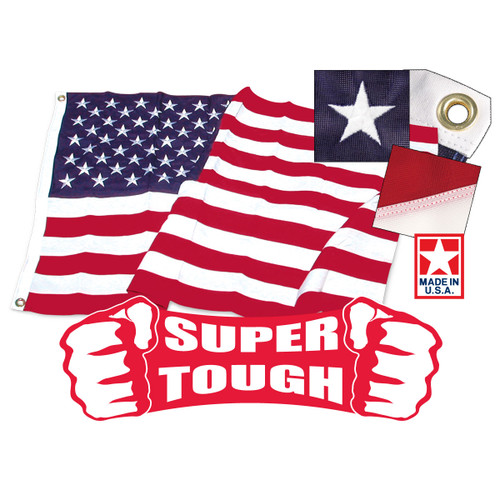 6ft x 10ft Super Tough Polyester American Flag - US Made