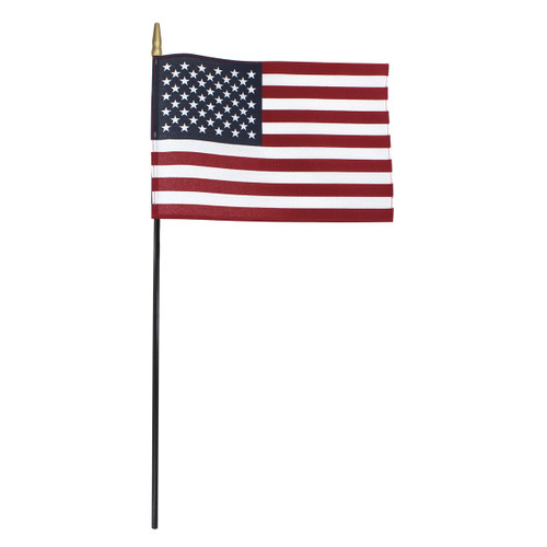 Super Tough US Stick Flag 8x12in, Black Stick, Spear Tip