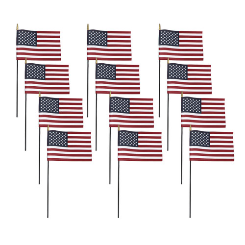 US Stick Flag 8x12in, Black Stick, Spear Tip - 12 Pack