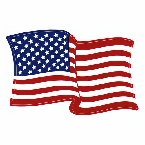American Waving Flag Vinyl Decal - Single