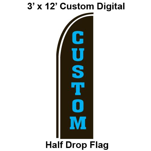 Custom Made Digital 3' x 12' Half Drop Flag -  Swooper Flag