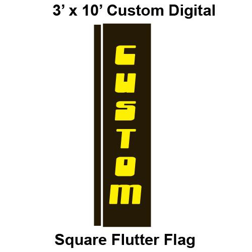 Custom Digital 3' x 10' Square Flutter Flag