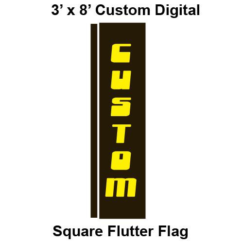 Custom Digital 3' x 8' Square Flutter Flag