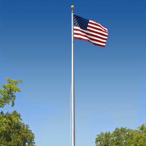 Super Tough Commercial Grade Sectional 20ft. Flagpole - Clear Anodized