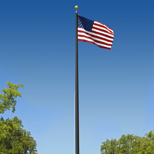 Super Tough Commercial Grade Sectional 25 foot Flagpole - Black