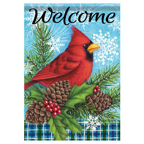 Carson Winter Banner Flag - Winter Cardinal