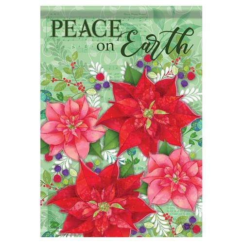 Carson Christmas Garden Flag - Poinsettia Bramble
