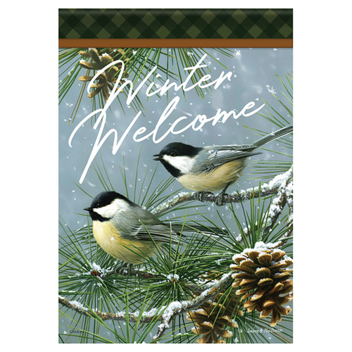 Carson Winter Glittered Garden Flag - Chickadees and Pine