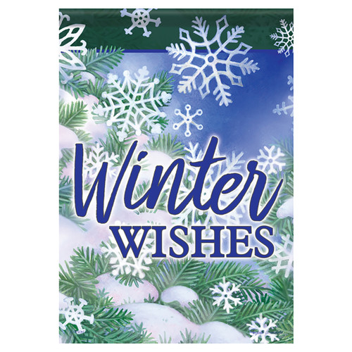 Carson Winter Garden Flag - Snow Flakes and Pine