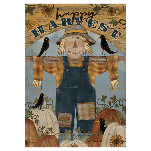 Carson Seasonal Garden Flag - Happy Harvest Scarecrow
