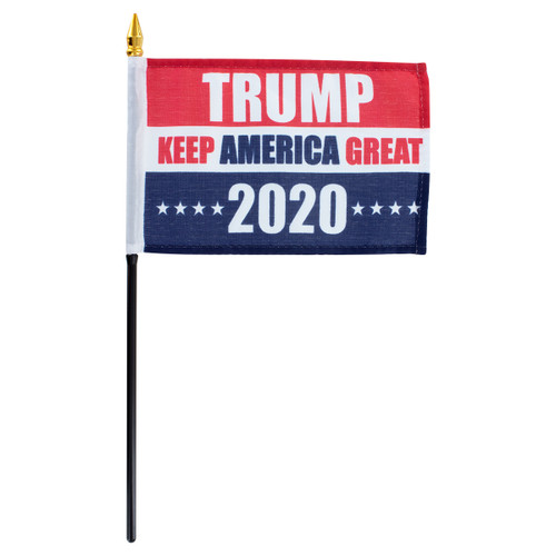 "Trump Keep America Great 2020 4"" x 6"" Stick Flag"