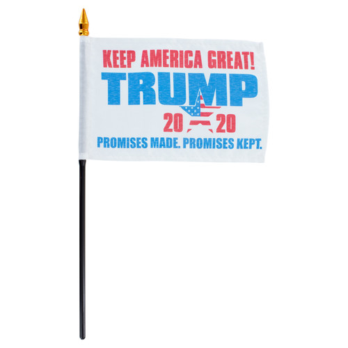 "2020 Trump Promises Made Promises Kept 4"" x 6"" Stick Flag"