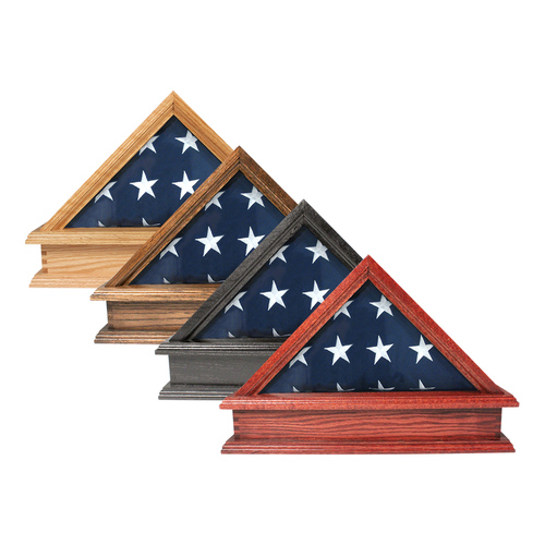 Solid Oak Flag Case & Pedestal for 5' x 9.5' Flag - US Made