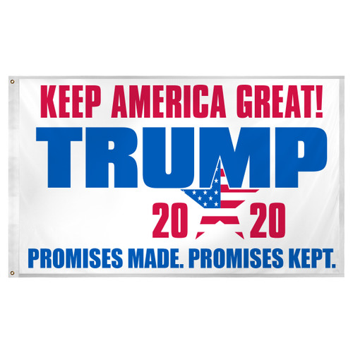 2020 Trump Promises Made Promises Kept Flag 3ft x 5ft Super Knit Polyester