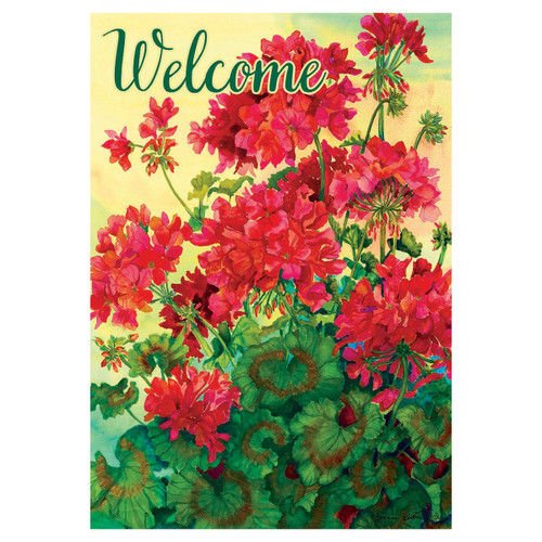 Welcome Banner Flag - Red Geraniums
