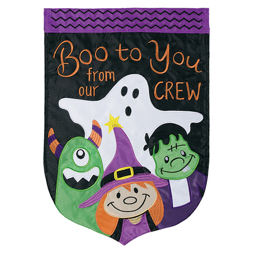 Halloween Applique Banner Flag - Boo Crew