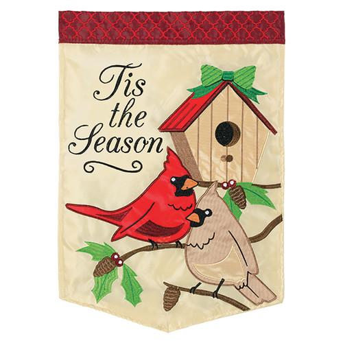 Christmas Applique Banner Flag - Tis The Season Birds