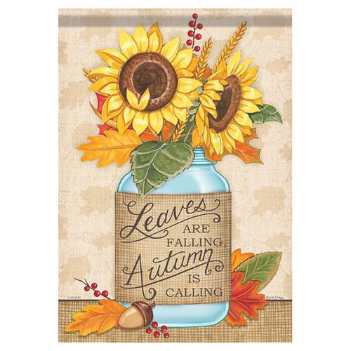 Fall Banner Flag - Sunflower Mason Jar