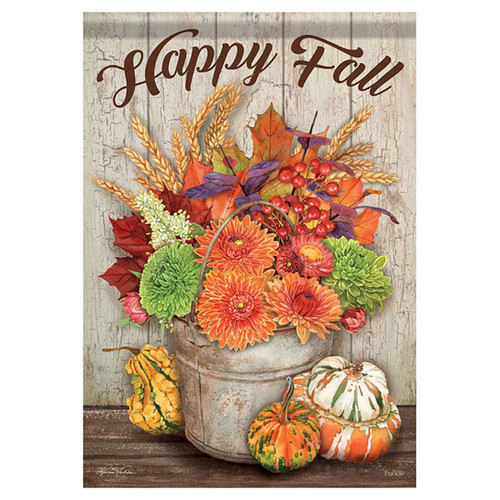 Fall Banner Flag - Fall Bucket & Gourds
