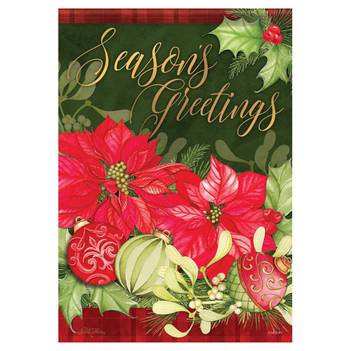 Christmas Banner Flag - Poinsettia Seasons Greetings