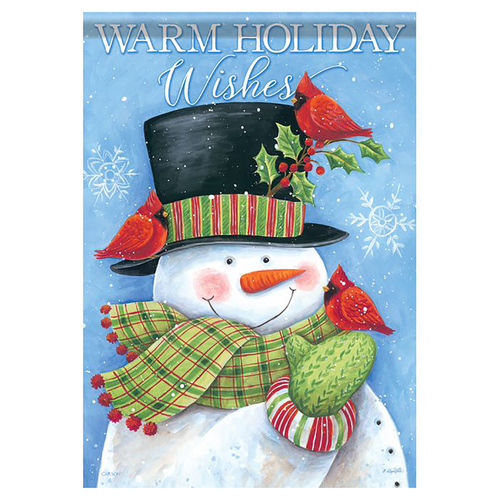 Christmas Banner Flag - Cardinal Hat Snowman