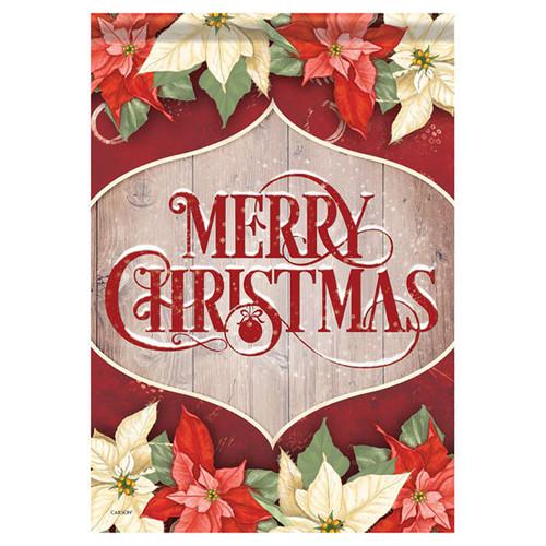 Christmas Banner Flag - Merry Christmas Poinsettias