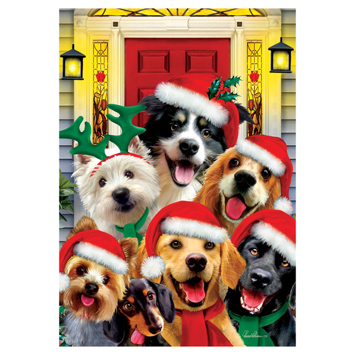Christmas Banner Flag - Christmas Dogs