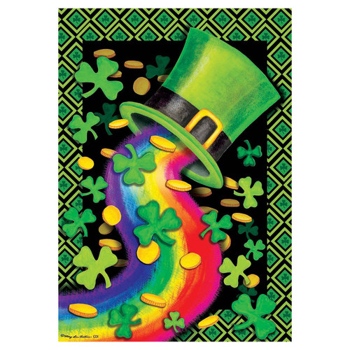St. Patrick's Day Garden Flag - Rainbow Hat