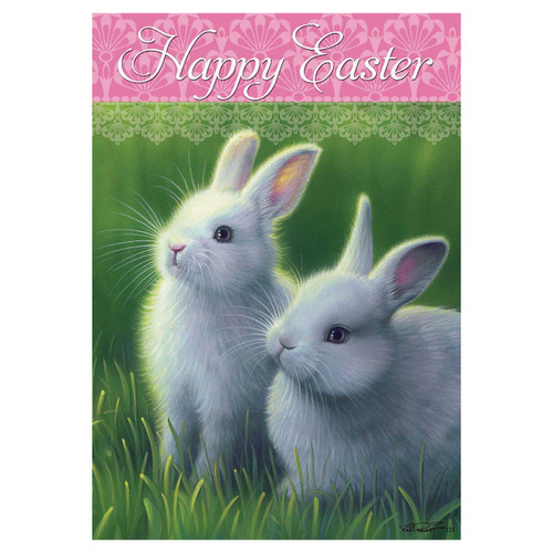Easter Garden Flag - White Bunnies