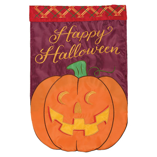 Halloween Applique Garden Flag - Jack-O-Lantern