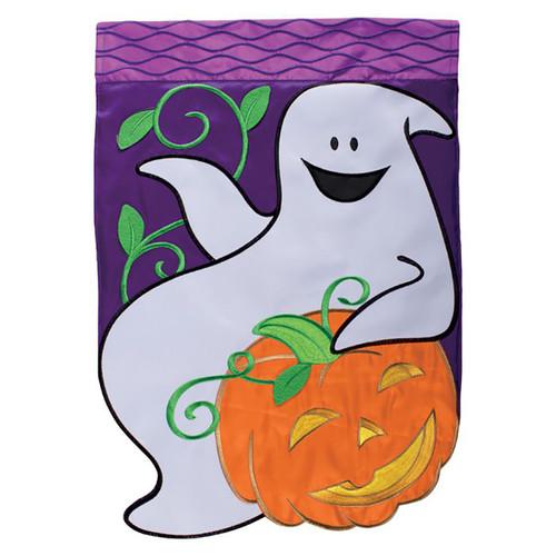 Halloween Applique Garden Flag - Happy Ghost