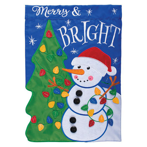 Christmas Applique Garden Flag - Snowman and Tree