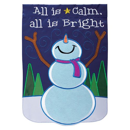 Winter Applique Garden Flag - All is Calm Snowman