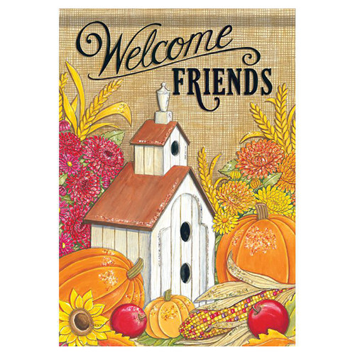 Fall Garden Flag - Welcome Friends Birdhouse