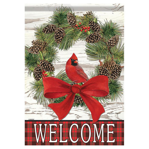 Christmas Garden Flag - Welcome Cardinal Wreath