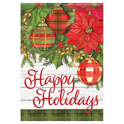 Christmas Garden Flag - Plaid and Poinsettias