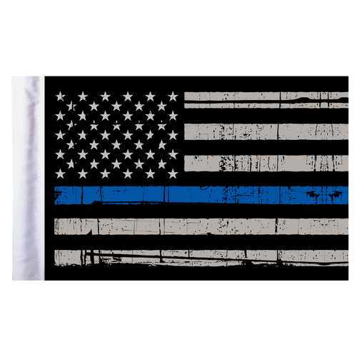 "Thin Blue Line American Motorcycle Flag - 6"" x 9"""
