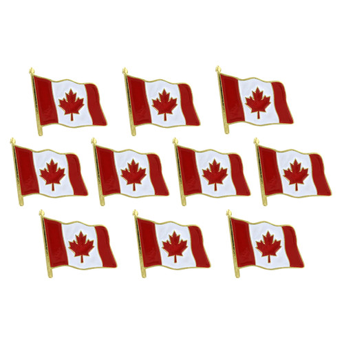 Waving Canada Flag Lapel Pin - 10 Pack