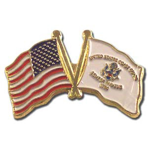 US and Coast Guard Flag Lapel Pin - 1.25""