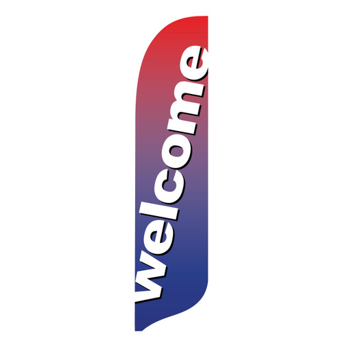Outdoor Advertising Blade Flag - Welcome Slant