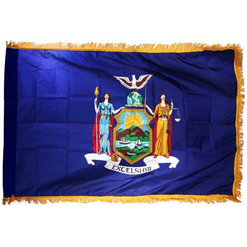 New York Flag 4 x 6 Feet Nylon-Indoor: Add Pole Hem and Fringe