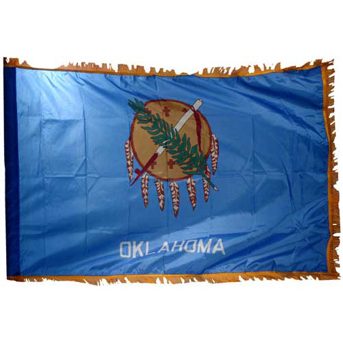 Oklahoma Flag 4 x 6 Feet Nylon-Indoor: Add Pole Hem and Fringe
